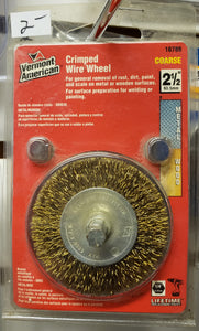 "Vermont American 16789 2-1/2"" Coarse Brass Wire Wheel Brush with 1/4"" Hex Shank for Drill"