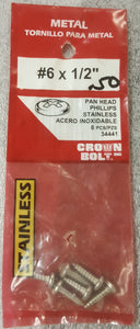 "Crown Bolt 34441 #6 x 1/2"" Pan Head Phillips Stainless Steel Metal Screw QTY 8"