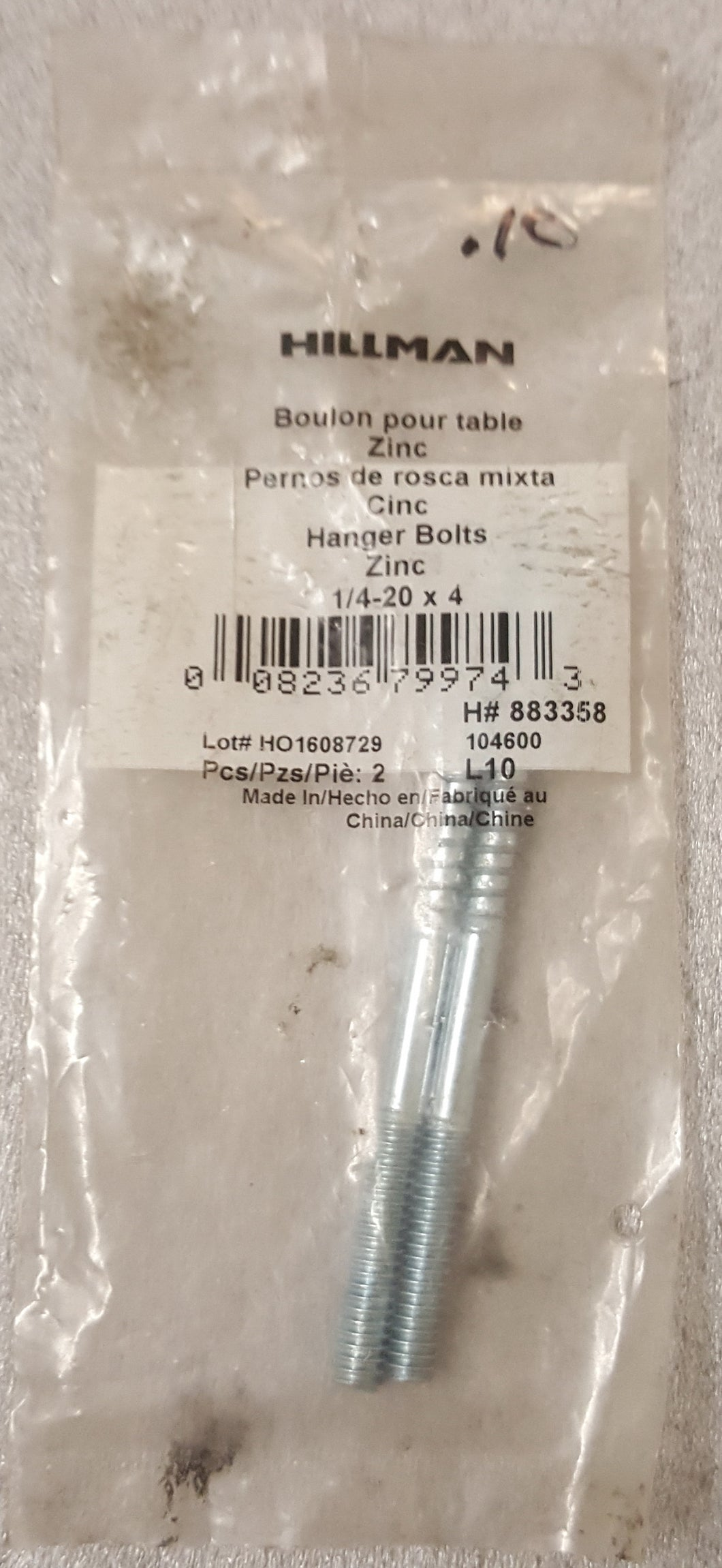 Hillman 883358 1/4-in x 1-in Zinc-Plated Hanger Bolt (2-Count)