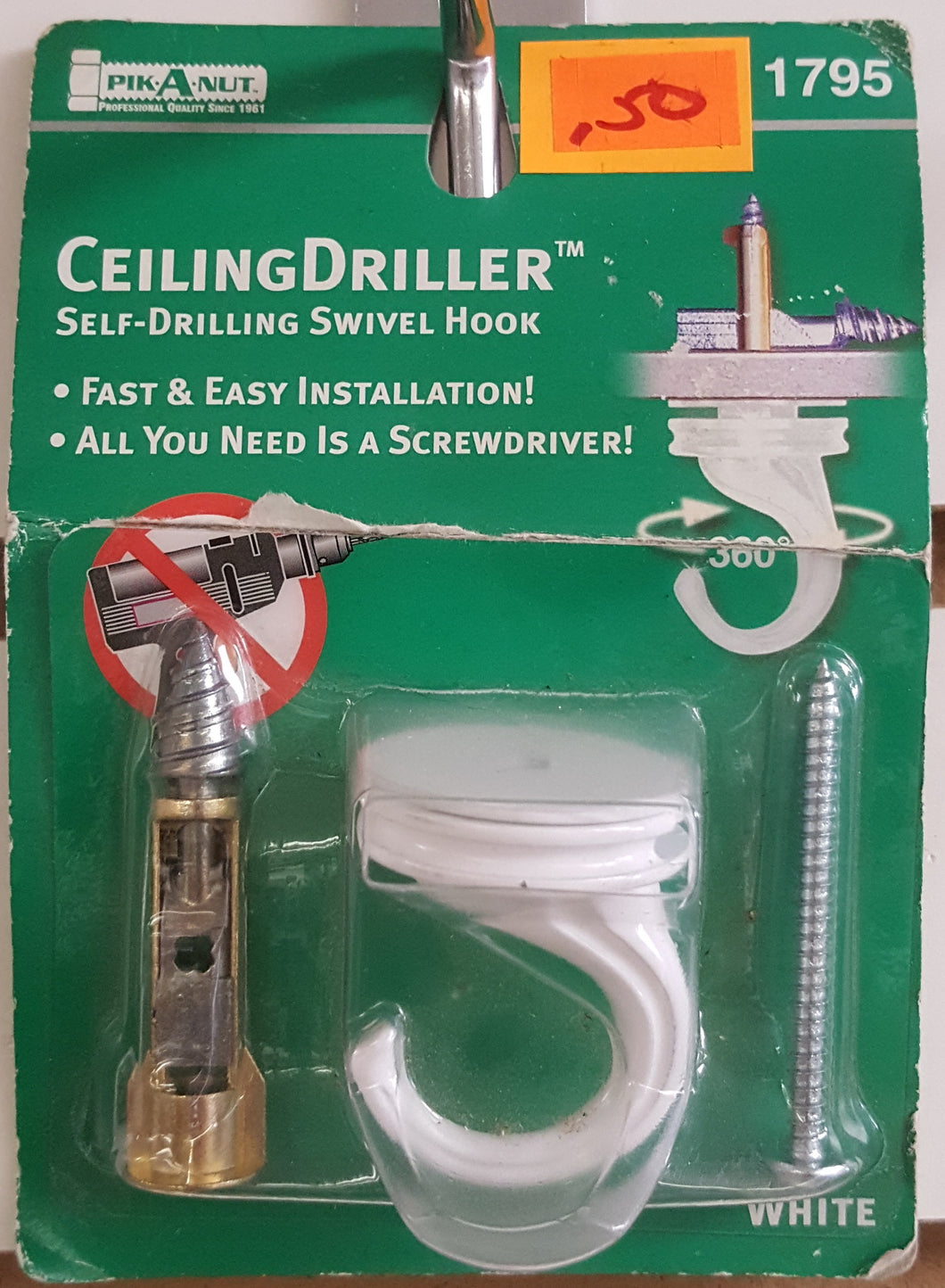 Pik-A-Nut 1795 Ceiling Driller Self-Drilling Swivel Hook - White