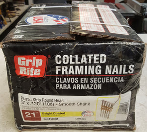"Grip-Rite GR301 3"" x 0.120"" 21 Degree Plastic Bright Vinyl-Coated Steel Smooth Shank Round Framing Nails (4,000 per Box)"