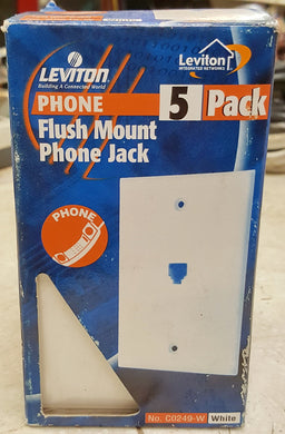 Leviton White 4-Wire Phone Jack Wallplates RJ11 Modular Telephone C0249-W 5-Pack