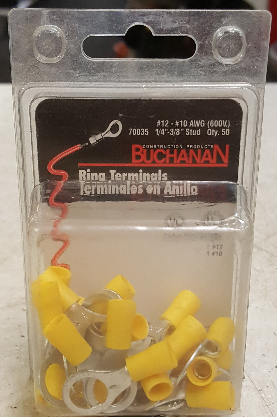 Buchanan 70035 Insulated Ring Terminal 12-10 Awg 50-Pack