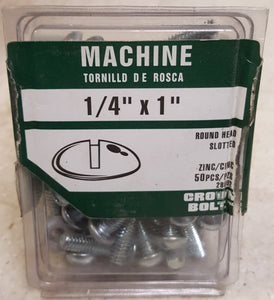 "Crown Bolt 28002 1/4""-20 x 1"" Round-Head Slotted Drive Zinc-Plated Machine Screws  50-Pack"