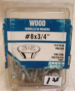 "Crown Bolt 20952 #8-3/4"" Flat Head Phillips Zinc Wood Screws Partial Pack"