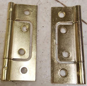"3"" x 1"" Non-Mortise Brass Hinge Pair"