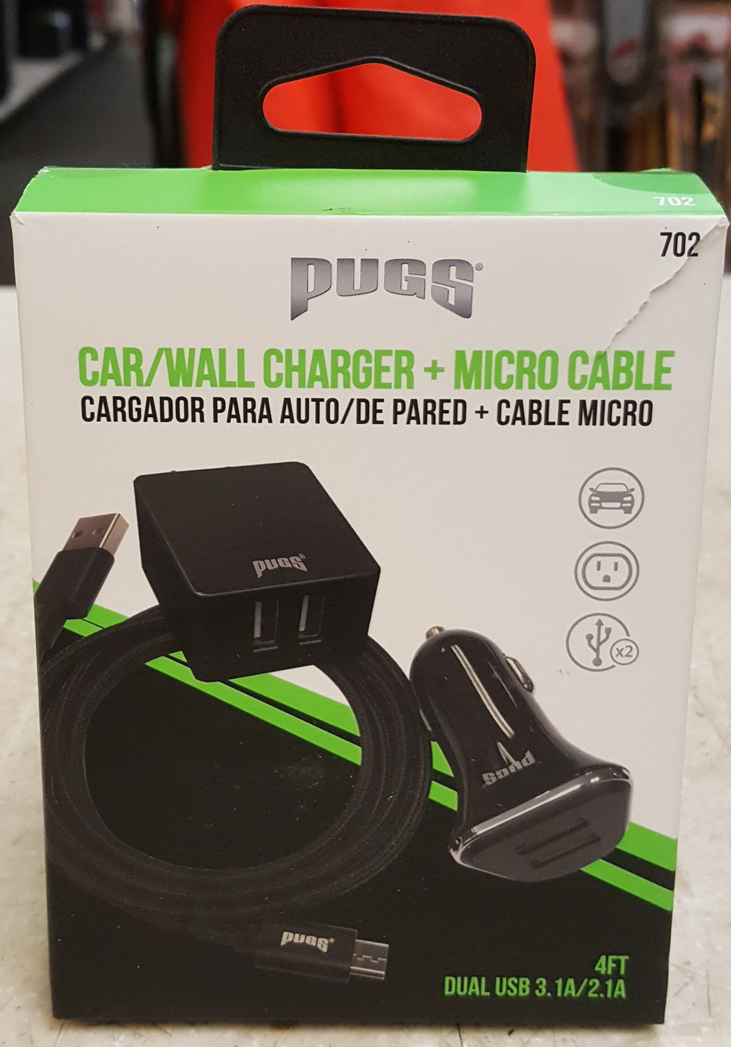 Pugs 702 3-in-1 Micro Cable/Car/Wall Charger