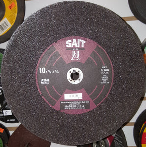 "United Abrasives SAIT 10"" X 1/8"" X 5/8"" 36 Grit Medium A36R Aluminum Oxide Cut Off Wheel"