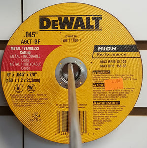 "DeWALT DW8726 6"" Cutting Wheel"