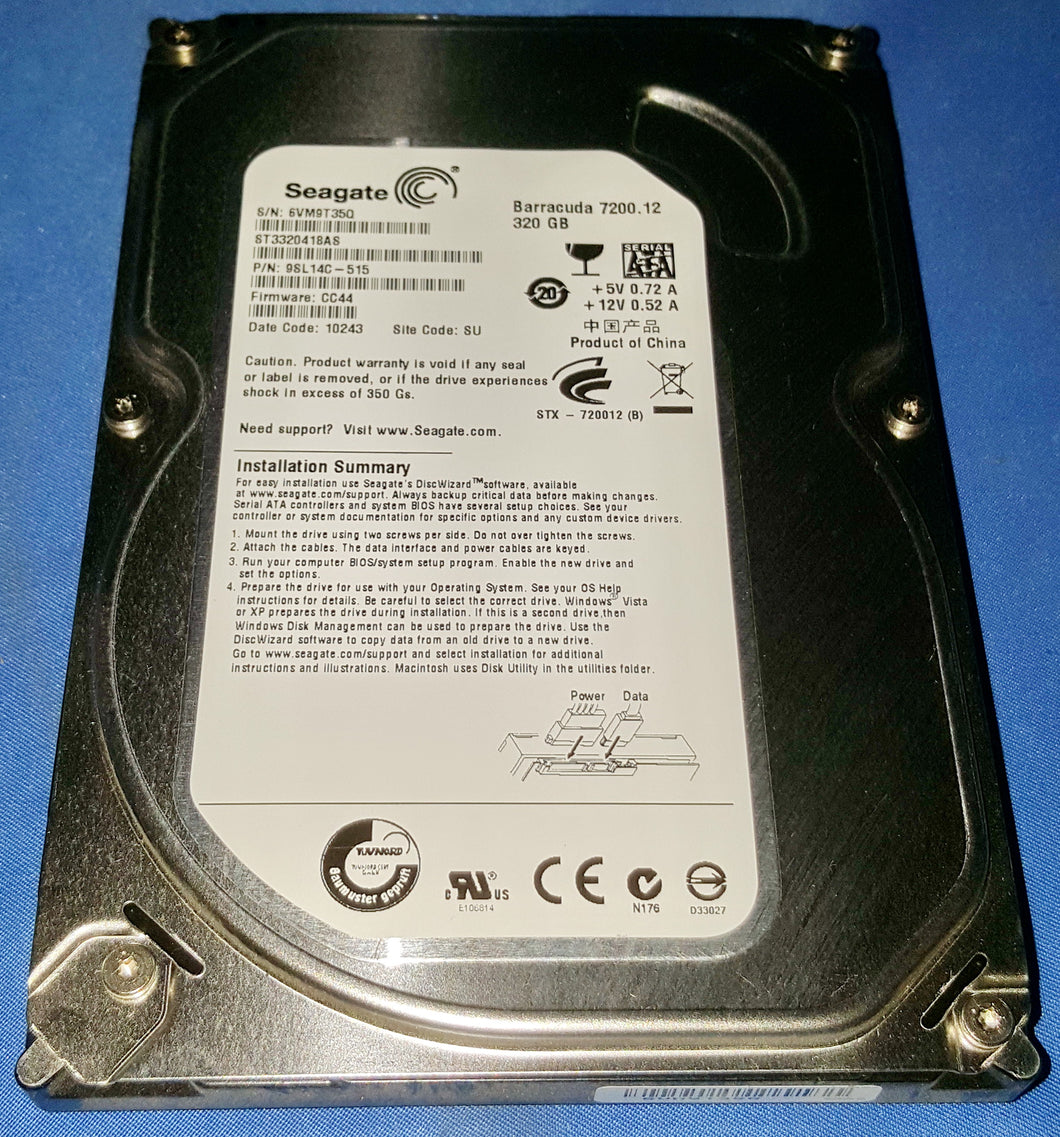 Seagate BarraCuda 7200.12 ST3320418AS 320GB 16MB SATA 3.0Gb/s 3.5