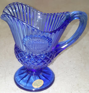 "Vintage 5-1/2"" H Avon Fostoria Cobalt Blue Mt. Vernon Glass Pitcher"