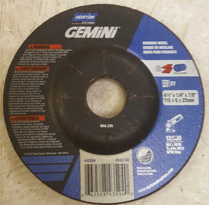 "Norton Gemini Depressed Center Abrasive Wheel, Type 27, Aluminum Oxide, 7/8"" Arb"