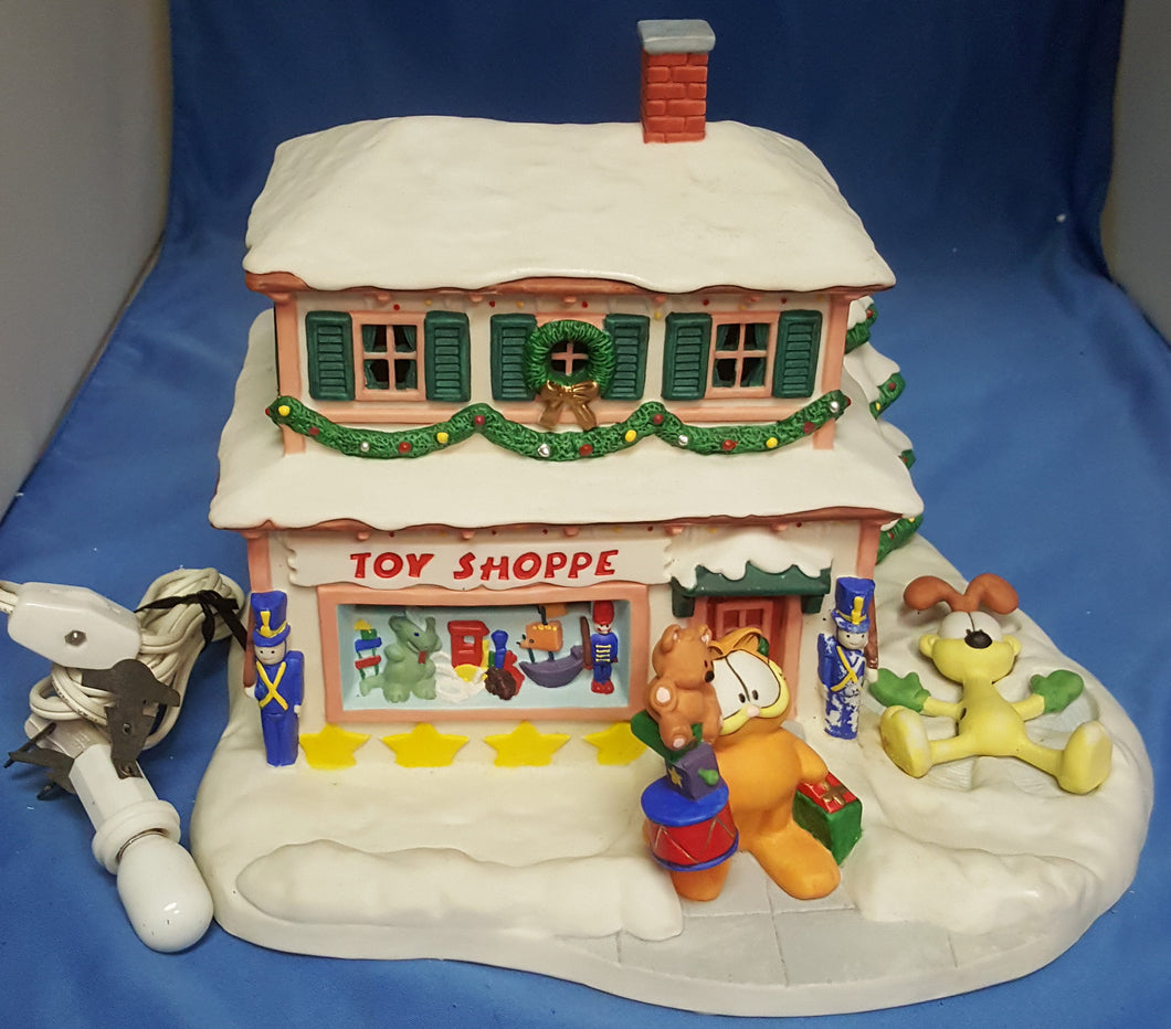 1994 Danbury Mint Garfield's Christmas Village The Toy Shoppe Lighted Ceramic