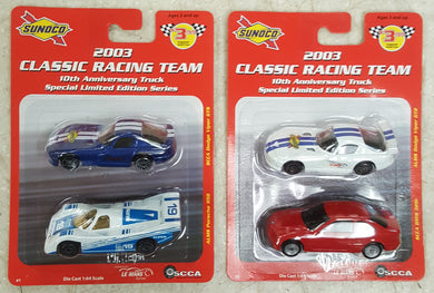2003 Maisto Sunoco Classic Racing Team 4-Car 1:64 Diecast Set Porsche, BMW, Viper