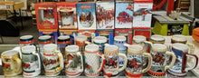 Load image into Gallery viewer, Budweiser Christmas Holiday Steins/Mugs - Ceramarte Lot of 30 from 1980 to 2010