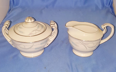 Vintage Valmont China Creamer and Sugar Bowl Royal Wheat Pattern Japan