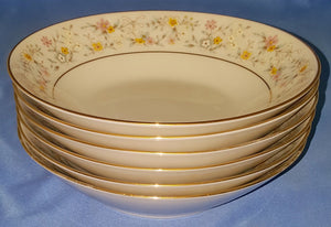 "6 Contemporary Fine China by Noritake Delevan 2580 7-1/2"" Soup Bowls"
