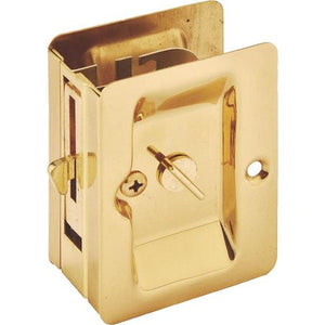 "Mintcraft 101-0677 Polished Brass Privacy Pocket Door Latch (2-1/4"" W x 3-1/4"" H x 1-3/8"" D)"