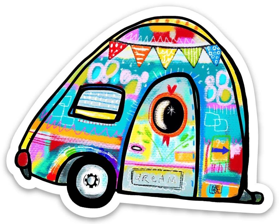 Limited Edition Colorful Camper Sticker