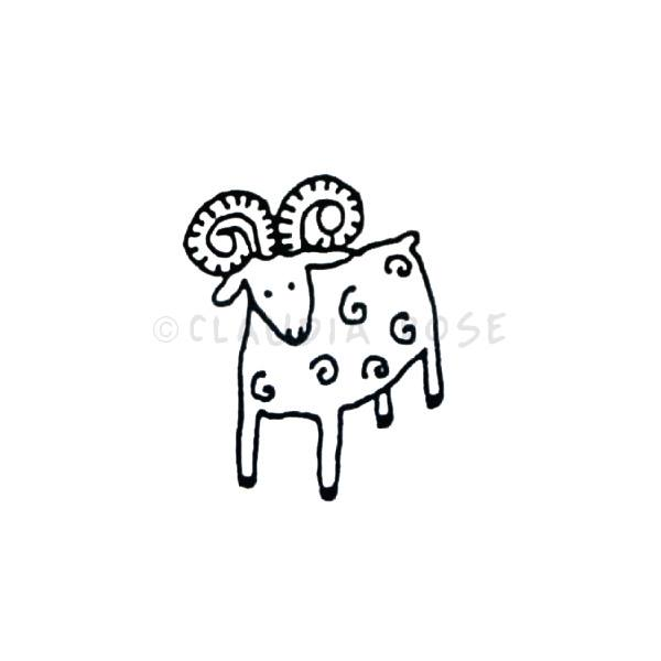 Claudia Rose | CR3516D - Rama the Ram - Rubber Art Stamp