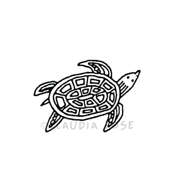 Claudia Rose | CR3511C - Roxie the Turtle - Rubber Art Stamp
