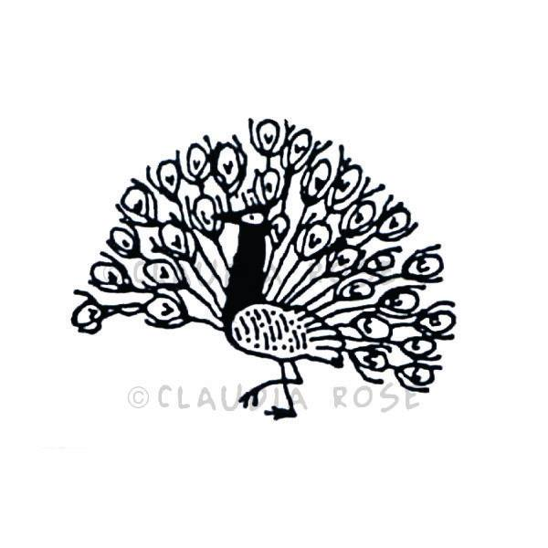Claudia Rose | CR3211D - Sweet Pea Peacock - Rubber Art Stamp
