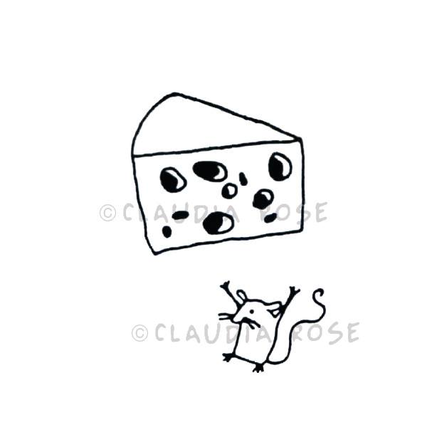 Claudia Rose | CR558F - Cheese with Mouse End-mount - Rubber Art Stamps