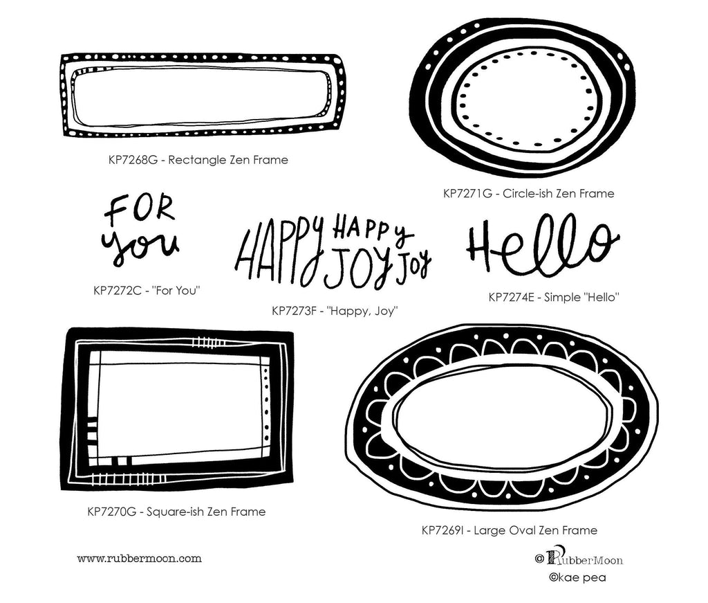 Kae Pea | KPZDF07 - Zen Doodle Frames & Words Set - Rubber Art Stamps