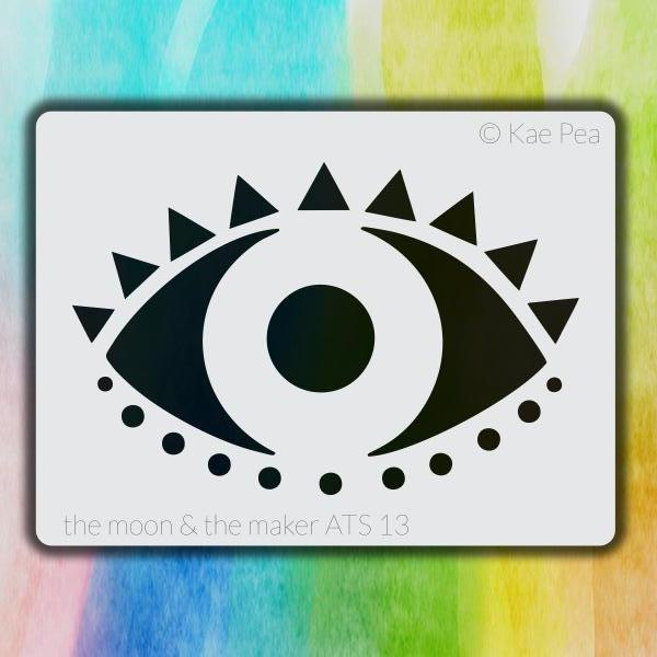 Kae Pea | Eye on You Stencil | ATC Size