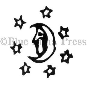 Moon and Stars - BLP534B - Rubber Art Stamp