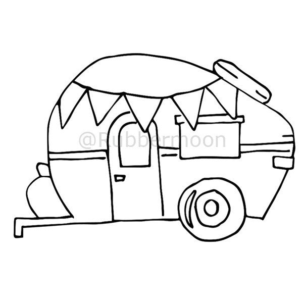 Party on Wheels - BR1I - Rubber Art Stamp