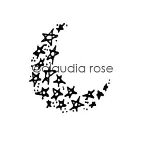 Claudia Rose | CR211C - Starry Night Moon - Rubber Art Stamp