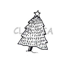 Xmas Tree  Rubber Art Stamp