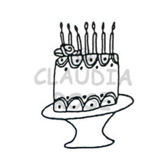 Cake on a Plate Rubber Art Stamp