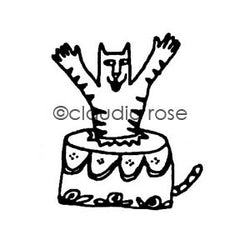 Claudia Rose | CR256E - Suprise Cat Cake - Rubber Art Stamp