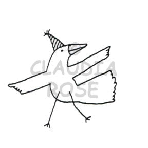 Dancing Bird Rubber Art Stamp