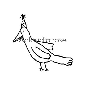 Birthday Bird - CR266D - Rubber Art Stamp