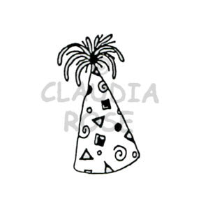 Claudia Rose | CR271D - Party Hat - Rubber Art Stamp
