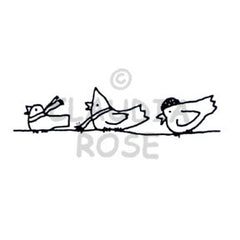 Claudia Rose | CR288E - Birds on a Wire - Rubber Art Stamp