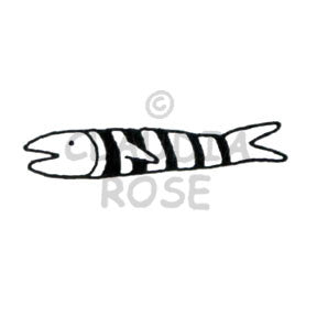 Claudia Rose | CR324D - Striped Fish - Rubber Art Stamp