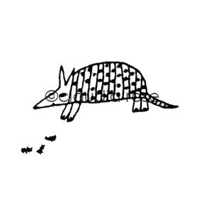 Claudia Rose | CR3503F - Tex the Armadillo (w/ End-Mount Insects) - Rubber Art Stamp