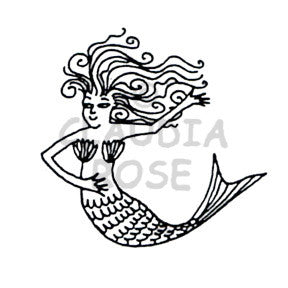 Claudia Rose | CR3504G - Esther Mermaid - Rubber Art Stamp