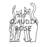 Claudia Rose | CR388F - Pair of Cats - Rubber Art Stamp