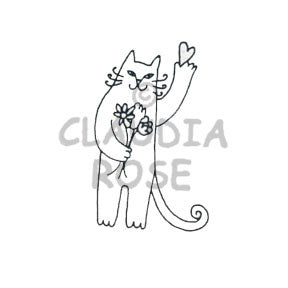 Cat w/Flowers Rubber Art Stamp