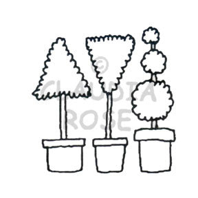 Topiary Rubber Art Stamp