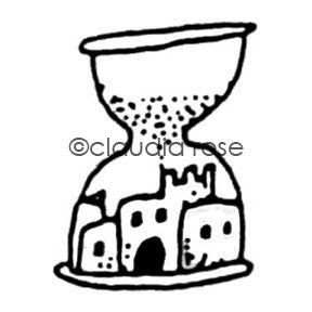 Claudia Rose | CR402F - Sandcastle Hourglass - Rubber Art Stamp