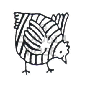 Striped Chicken Rubber Art Stamp