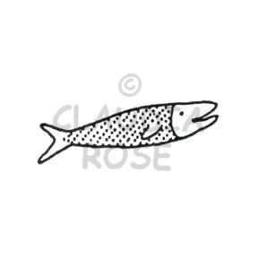Claudia Rose | CR461D - Dotted Fish - Rubber Art Stamp
