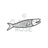 Dotted Fish Rubber Art Stamp