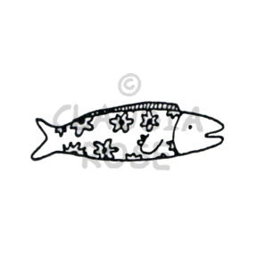 Floral Fish Rubber Art Stamp